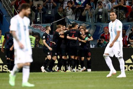 Soccer Football - World Cup - Group D - Argentina vs Croatia - Nizhny Novgorod Stadium, Nizhny Novgorod, Russia - June 21, 2018 Croatia's Ante Rebic celebrates scoring their first goal with team mates REUTERS/Murad Sezer