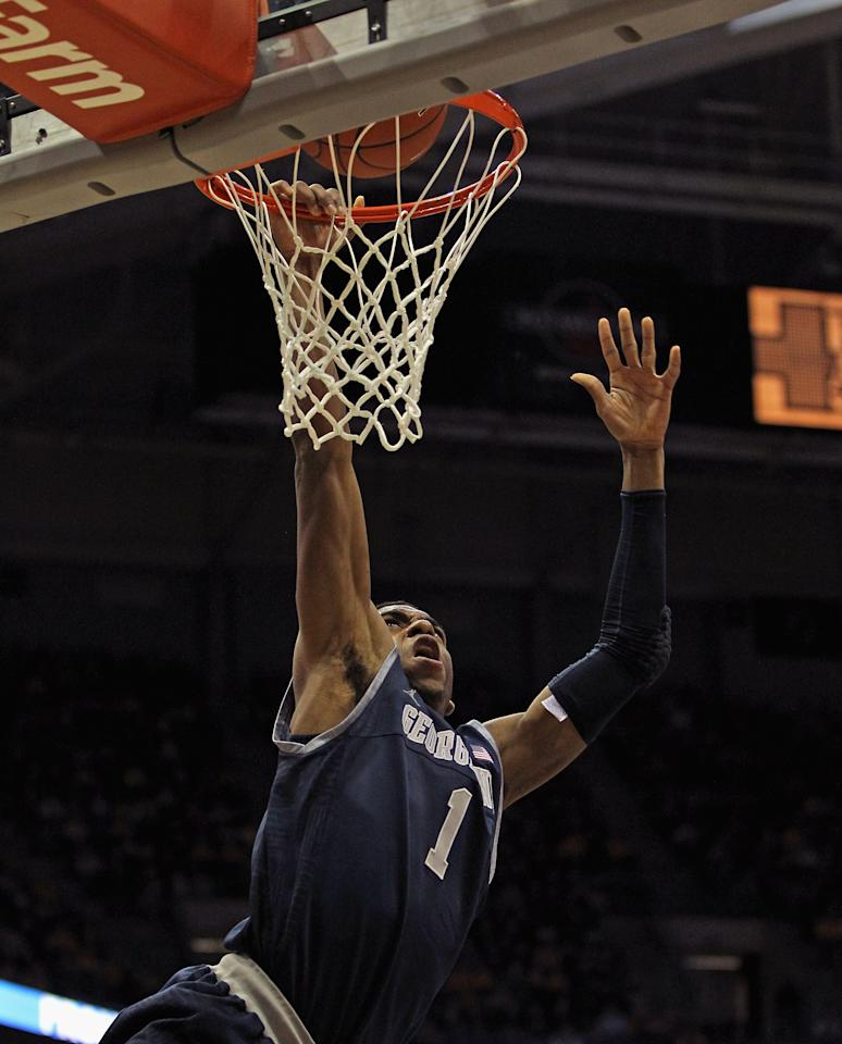 MILWAUKEE, WI - MARCH 03: Hollis Thompson #1 of the Georgetown Hoyas misses a dunk against the Marquette Golden Eagles at the Bradley Center on March 3, 2012 in Milwaukee, Wisconsin. Marquette defeated Georgetown 83-69.  (Photo by Jonathan Daniel/Getty Images)