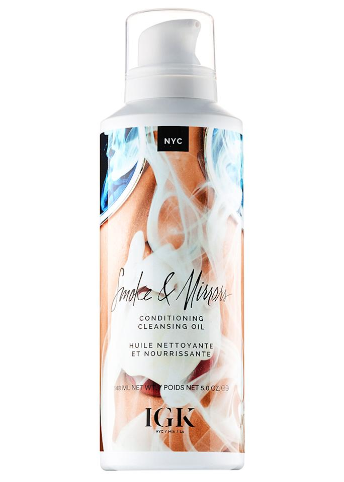 "IGK Smoke & Mirrors Cleansing Oil, $29; at <a rel=""nofollow"" href=""http://www.sephora.com/smoke-mirrors-conditioning-cleansing-oil-P410497"">Sephora</a>"