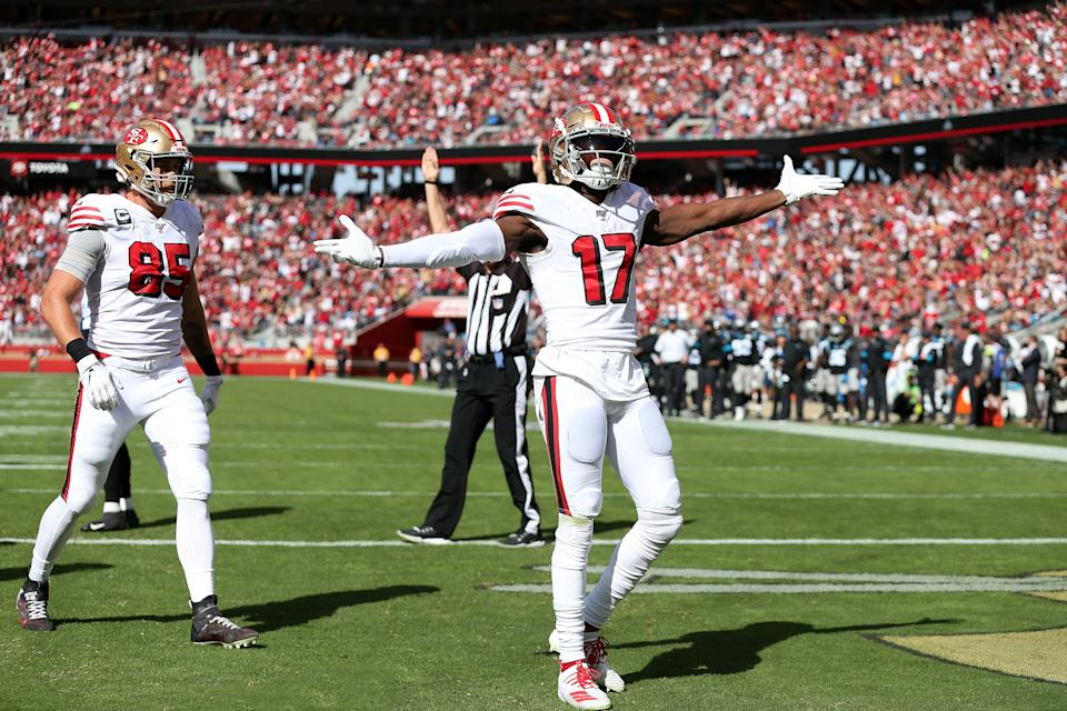 Emmanuel Sanders (17) and George Kittle are two of the weapons that makes the San Francisco 49ers' offense dangerous. (Photo by Daniel Gluskoter/Icon Sportswire via Getty Images)