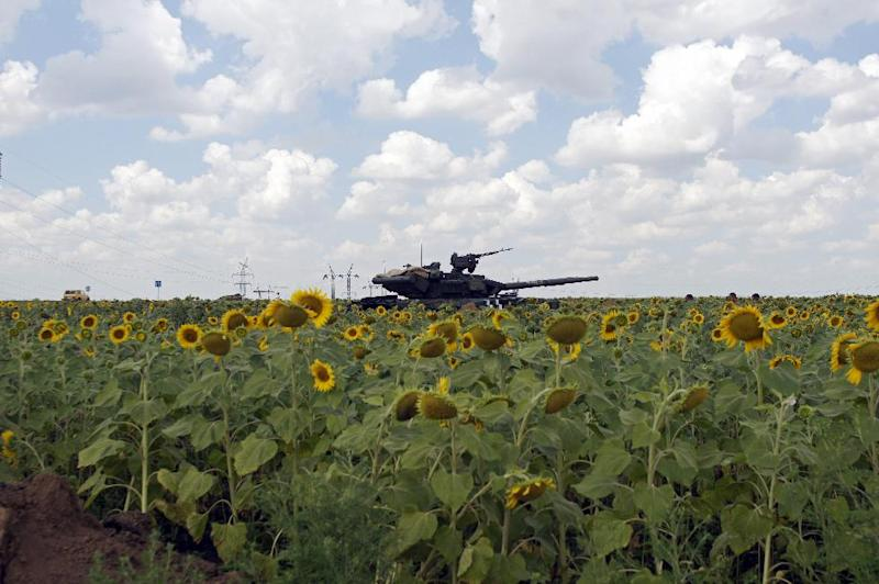 A Ukrainian army tank sits in position in a sunflowers field near the village of Maryinka, a suburb of Donetsk, on August 5, 2014