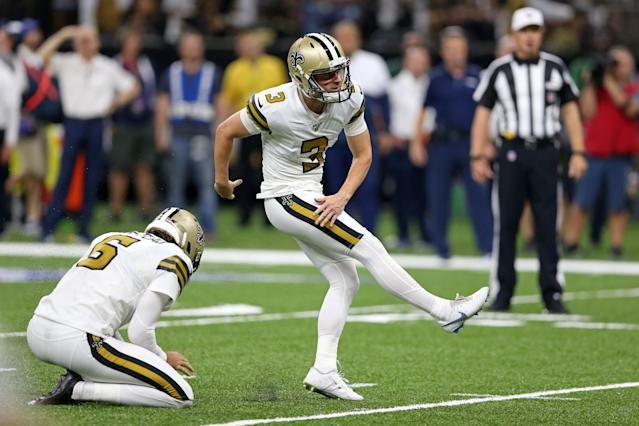 """<a class=""""link rapid-noclick-resp"""" href=""""/nfl/players/29754/"""" data-ylk=""""slk:Wil Lutz"""">Wil Lutz</a> has been a great weapon for the <a class=""""link rapid-noclick-resp"""" href=""""/nfl/teams/new-orleans/"""" data-ylk=""""slk:Saints"""">Saints</a> this season. Mandatory Credit: Chuck Cook-USA TODAY Sports"""