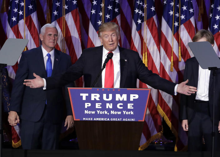 <p>President-elect Donald Trump gives his acceptance speech during his election night rally, Nov. 9, 2016, in New York. (Photo: John Locher/AP) </p>