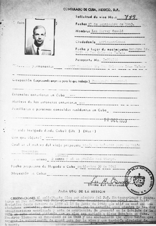 "<p>This is a copy of Lee Harvey Oswald's visa application, released by the Cuban government following the testimony of former Cuban consul to Mexico City, Eusebio Azcue Lopez, before the International Tribunal: ""Youth Accuse Imperialism"", Aug. 3, 1978. (Photo: Charles Tasnadi/AP) </p>"