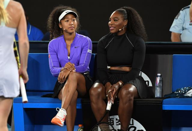 Naomi Osaka and Serena Williams will take part in a virtual 'Stay at Home' slam during the coronavirus shutdown. (William West/AFP via Getty Images)