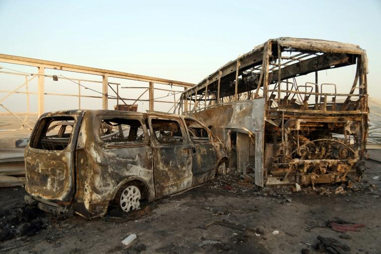 Bodies were charred and vehicles burnt out in the attack near the southern Iraqi city of Nasiriyah on September 14, 2017