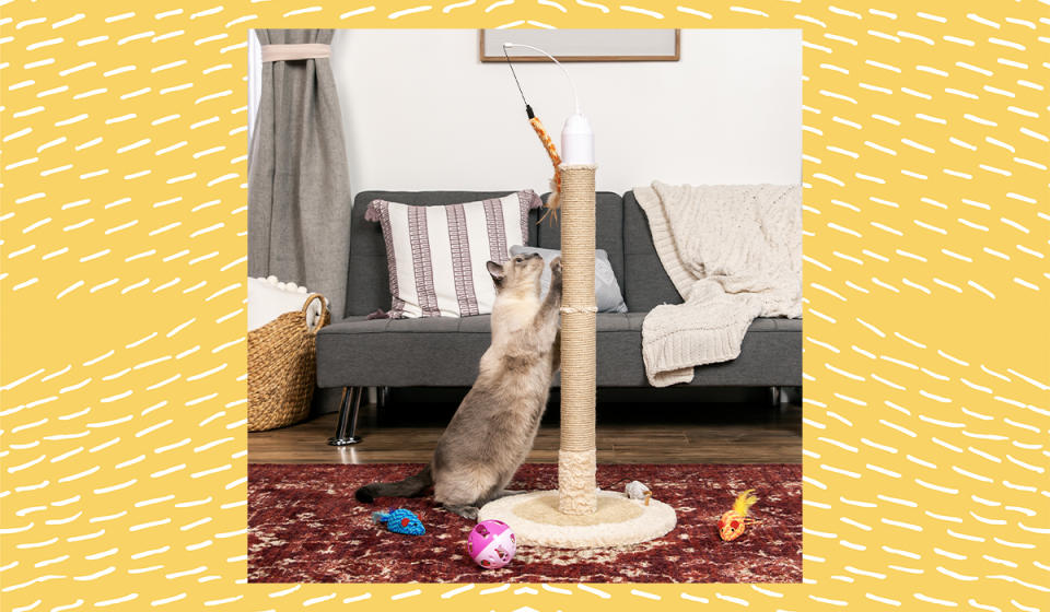 Your cat is going to love this scratching tower. (Photo: Walmart)