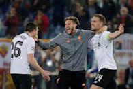 <p>Soccer Football – Champions League Semi Final Second Leg – AS Roma v Liverpool – Stadio Olimpico, Rome, Italy – May 2, 2018 Liverpool's Jordan Henderson, Adam Lallana and Andrew Robertson celebrate after the match REUTERS/Max Rossi </p>