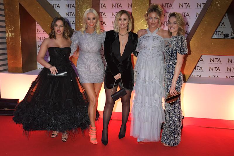 LONDON, ENGLAND - JANUARY 28: (L to R) Georgia May Foote, Denise van Outen, Kimberley Walsh, Lydia Bright and Kara Tointon attend the National Television Awards 2020 at The O2 Arena on January 28, 2020 in London, England. (Photo by David M. Benett/Dave Benett/Getty Images)