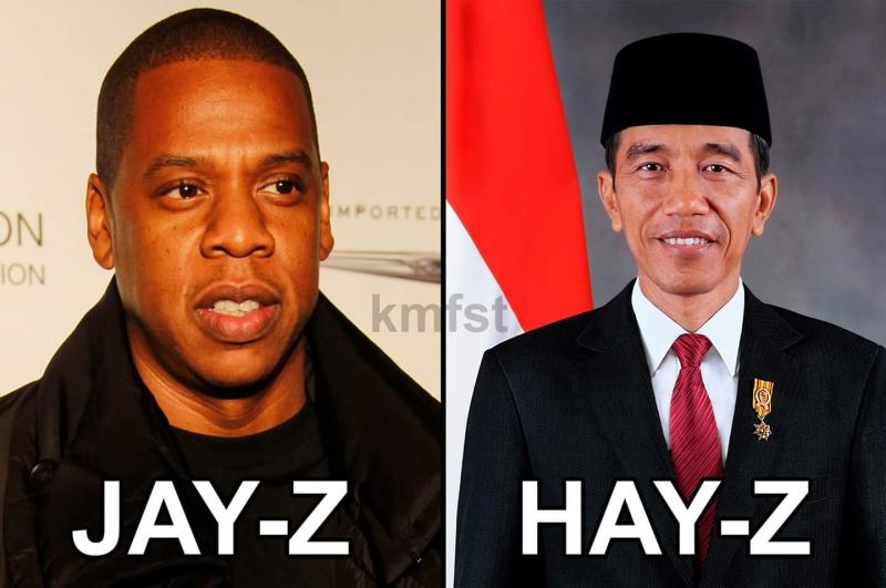 A funny joke image circulating on social media about the 2019 haze affecting Singapore and Malaysia due to smoke from burning plantations in Indonesia on Sumatra and Borneo, featuring American rapper Jay-Z and Indonesian president Jokowi.