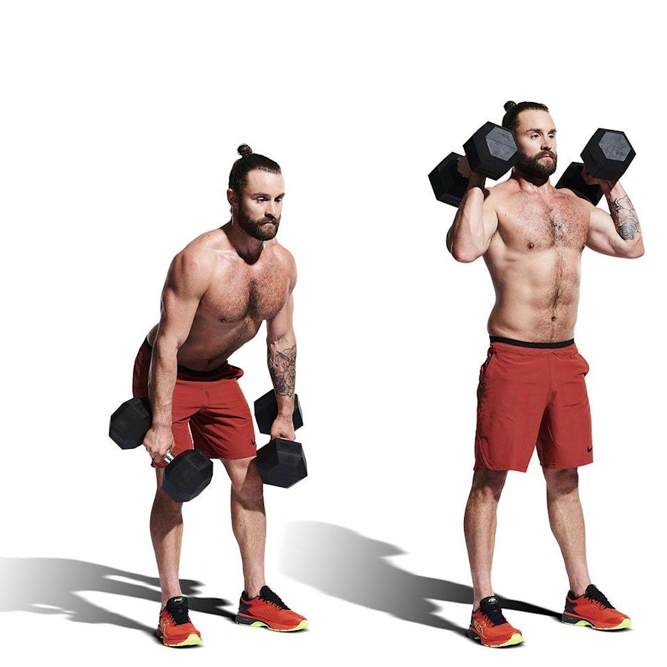 <p>After your final rep, drop your dumbbells down to your sides. Hinge at the hips to lower them to your knees (A). Stand back up with a slight jump, using the momentum to pull the dumbbells on to your shoulders (B). Stand up straight, then lower under control to your sides and repeat. </p>