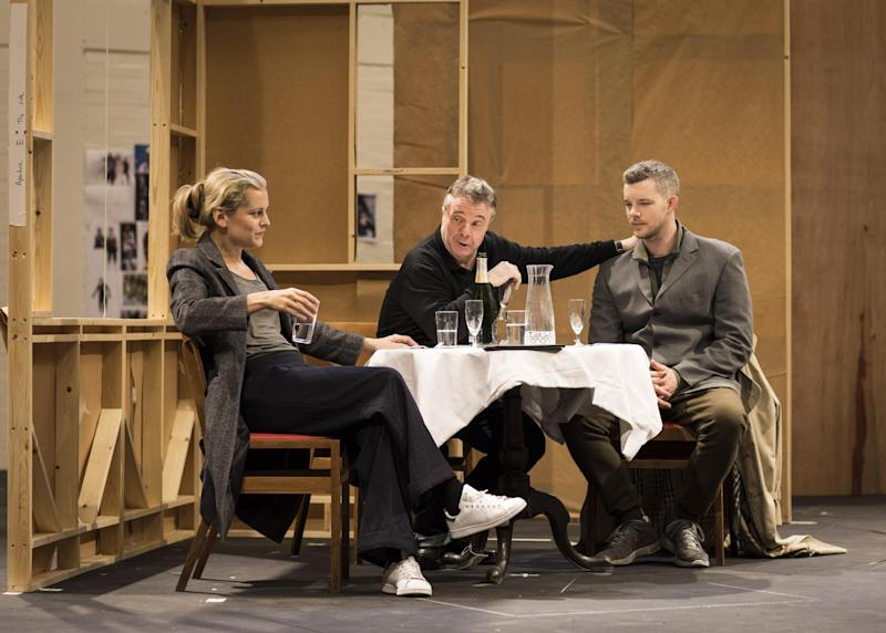 Hot ticket: Denise Gough, Nathan Lane and Russell Tovey in rehearsals: Helen Maybanks