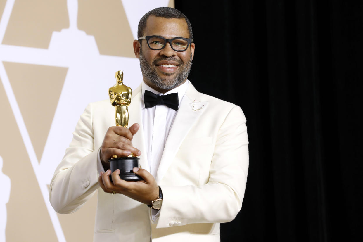 HOLLYWOOD, CA - MARCH 04: (EDITORS NOTE: Image has been digitally retouched) Jordan Peele (best Original Screenplay) photographed in the press room during the 90th Annual Academy Awards at Hollywood & Highland Center on March 4, 2018 in Hollywood, California.  (Photo by Kurt Krieger/Corbis via Getty Images)