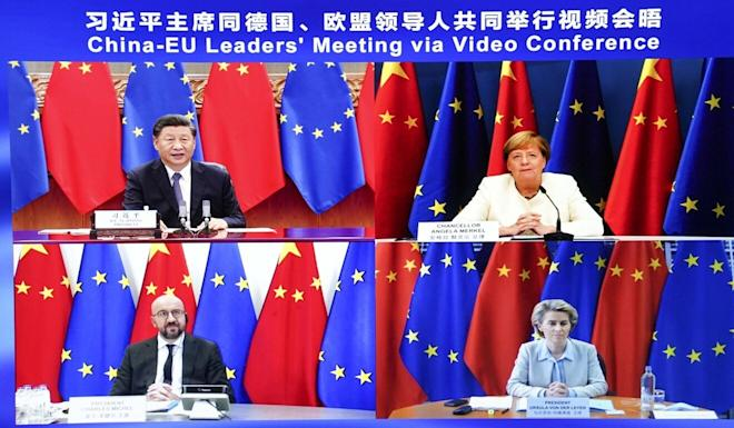 Chinese President Xi Jinping (top left) attends a virtual summit with European leaders including German Chancellor Angela Merkel (top right), European Council president Charles Michel (bottom left) and European Commission president Ursula von der Leyen (bottom right). Photo: Xinhua