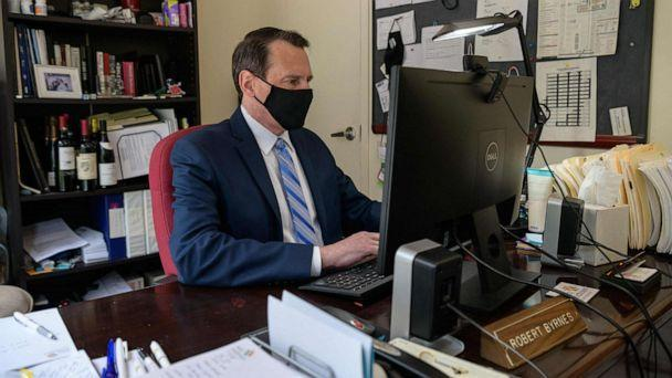 PHOTO: Rob Byrnes works in his office in midtown Manhattan on May 7, 2021, in New York. (Angela Weiss/AFP via Getty Images)