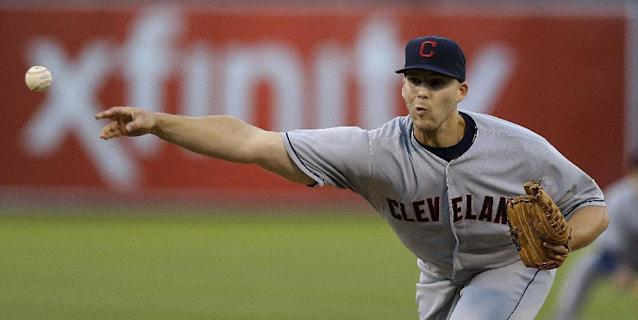 Cleveland Indians' Justin Masterson works against the Oakland Athletics in the first inning of a baseball game, Friday, Aug. 16, 2013, in Oakland, Calif. (AP Photo/Ben Margot)