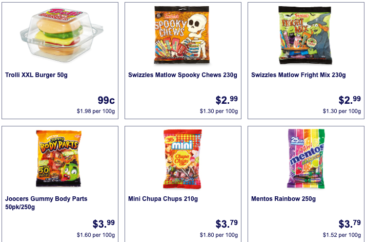 Halloween treats on sale as Special Buys at Aldi Australia.