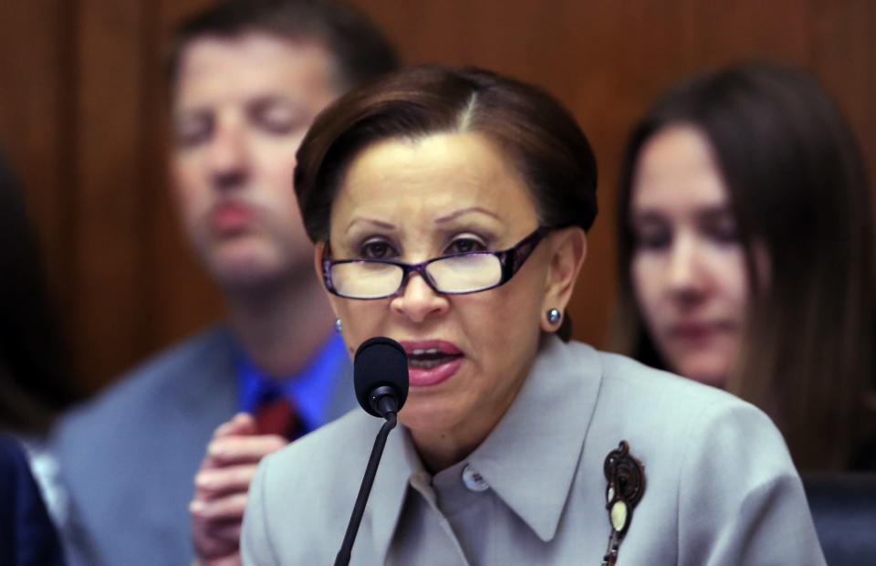 FILE - In this Tuesday, May 2, 2017, file photo, U.S. Rep. Nydia Velázquez, D-N.Y. speaks on Capitol Hill in Washington, during the House Financial Services Committee's hearing on overhauling the nation's financial rules. In a letter Tuesday, Sept. 21, 2021, to New York Gov. Kathy Hochul and New York City Mayor Bill de Blasio, four members of Congress from New York, including Velázquez, demanded the release of inmates and the closure of New York City's troubled Rikers Island jail complex after another inmate was reported dead at the facility over the weekend. (AP Photo/Manuel Balce Ceneta, File)