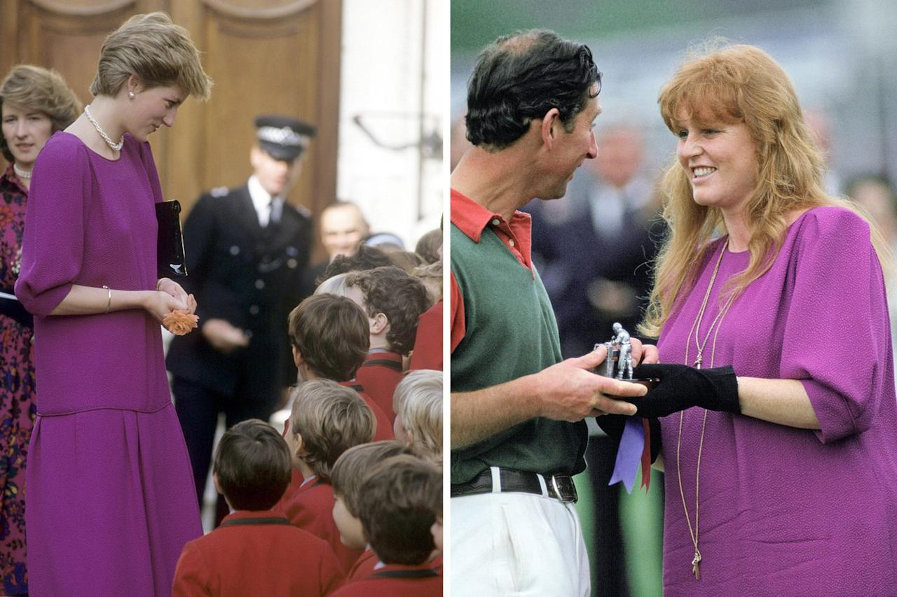 """<p>In 1986, Princess Diana wore a magenta drop-waist dress with a short strand of pearls to visit the hospice at St John and St Elizabeth Hospital in London. </p><p>Sarah Ferguson repurposed the colorful dress as maternity wear when she was pregnant with Princess Beatrice. She's seen here wearing it with black gloves and long gold necklaces on June 8, 1988, presenting Prince Charles with a prize after a polo match at Windsor Castle. (She wore a <a href=""""https://www.gettyimages.com/detail/news-photo/sarah-duchess-of-york-and-princess-michael-of-kent-in-the-news-photo/460678380"""">similar dress in yellow</a> to the Royal Ascot a few days later.)</p>"""