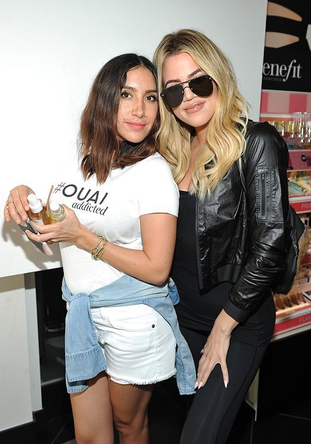 Jen Atkin (pictured here with Khloe Kardashian in LA) was in Sydney to promote her haircare brand Ouai. Photo: Getty