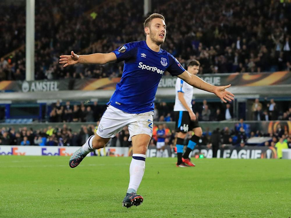 Nikola Vlasic celebrates scoring what looked like the winning goal for Everton (Getty)