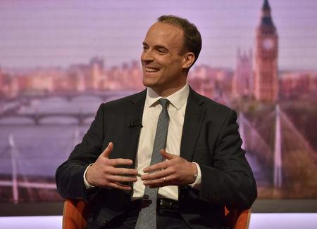 Britain's Brexit minister Dominic Raab appears on the BBC's Andrew Marr Show, in London