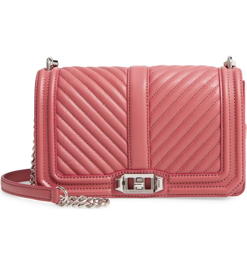 Rebecca Minkoff Chevron Quilted Love Crossbody Bag in fig