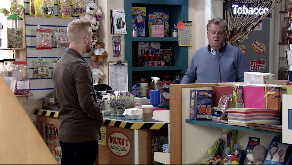<p>He desperately tries to persuade Brian not to go.</p>