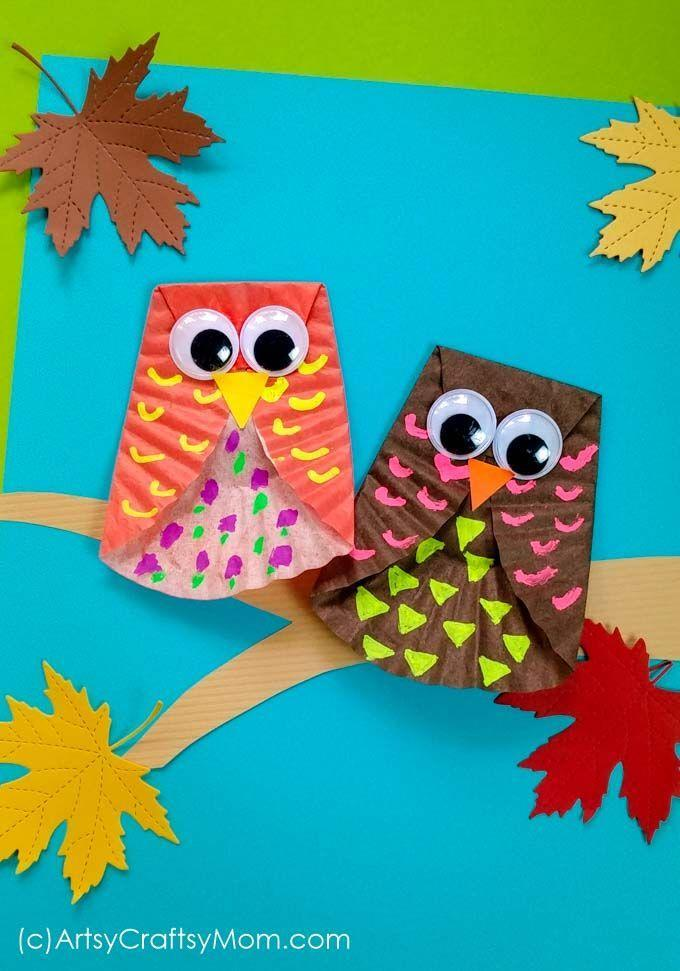 """<p>Grab some extra cupcake liners from your kitchen pantry and turn them into a pair of cute owls. If your kid is a <em>Harry Potte</em>r fan, they can make their very own Hedwig (or at least attempt to). </p><p><em><a href=""""https://artsycraftsymom.com/cupcake-liner-owl-craft/"""" rel=""""nofollow noopener"""" target=""""_blank"""" data-ylk=""""slk:Get the tutorial at Artsy Craftsy Mom »"""" class=""""link rapid-noclick-resp"""">Get the tutorial at Artsy Craftsy Mom »</a></em></p>"""