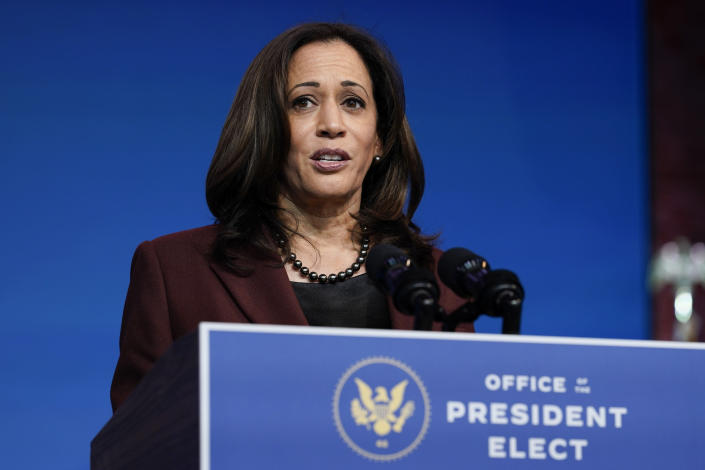 Vice President-elect Kamala Harris speaks as she and President-elect Joe Biden introduce their nominees and appointees to key national security and foreign policy posts at The Queen theater, Tuesday, Nov. 24, 2020, in Wilmington, Del. (AP Photo/Carolyn Kaster)