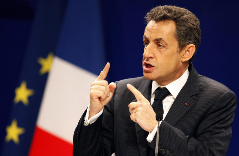 French President Nicolas Sarkozy gestures as he speaks at a G20 financial seminar on the International Monetary System held in Nanjing, eastern China's Jiangsu province, Thursday, March 31, 2011.  Conflicts over exchange rate policy and other economic strategies are surfacing at a Group of 20 financial seminar in Nanjing, China, despite Beijing's insistence that its own currency regime is not on the agenda. (AP Photo/Ng Han Guan)