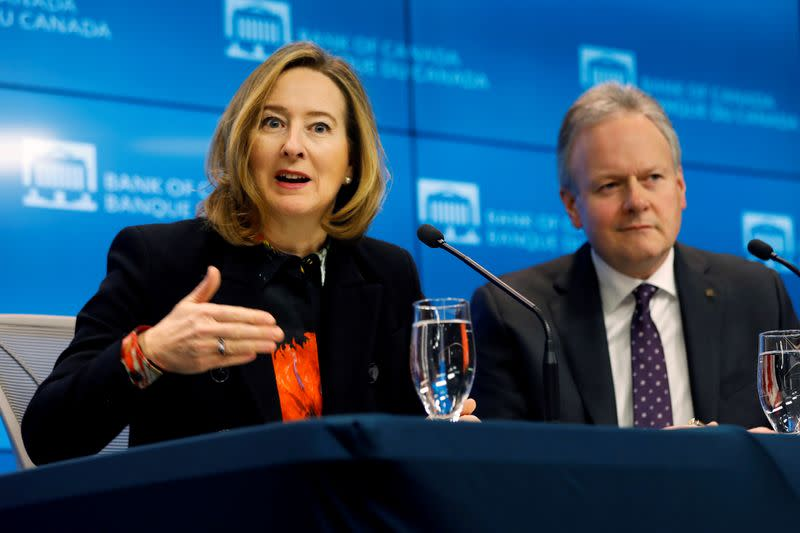 FILE PHOTO: Senior Deputy Governor Carolyn Wilkins gestures as she speaks next to Bank of Canada Governor Stephen Poloz, after announcing the latest rate decision in Ottawa