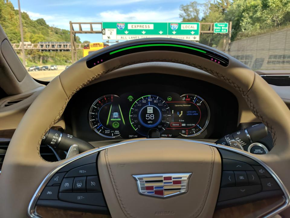 Behind the hands-free wheel of the Cadillac CT6 sedan with Super Cruise.