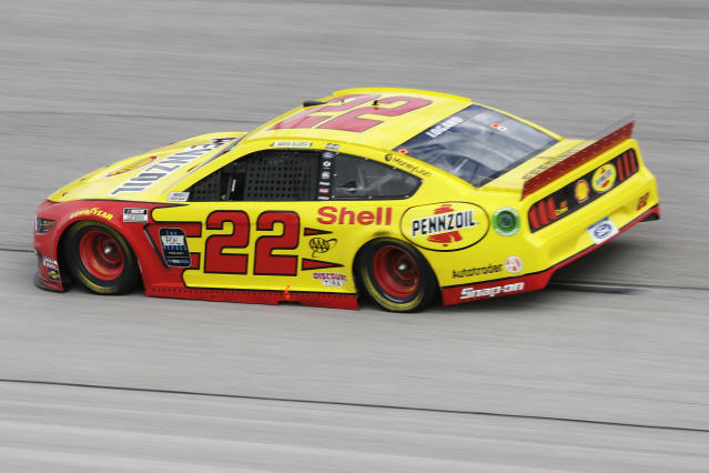 Joey Logano (22) drives during the NASCAR Cup Series auto race Sunday, May 17, 2020, in Darlington, S.C. (AP Photo/Brynn Anderson)