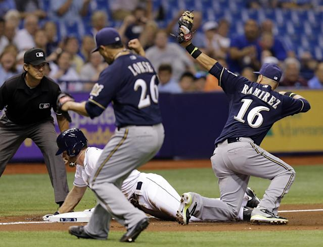 Milwaukee Brewers third baseman Aramis Ramirez (16) tags out Tampa Bay Rays' Logan Forsythe at third base after he was caught trying to stretch a double into a triple during the fifth inning of an interleague baseball game Monday, July 28, 2014, in St. Petersburg, Fla. Looking on is Brewers pitcher Kyle Lohse (26) and umpire John Tumpane. (AP Photo/Chris O'Meara)