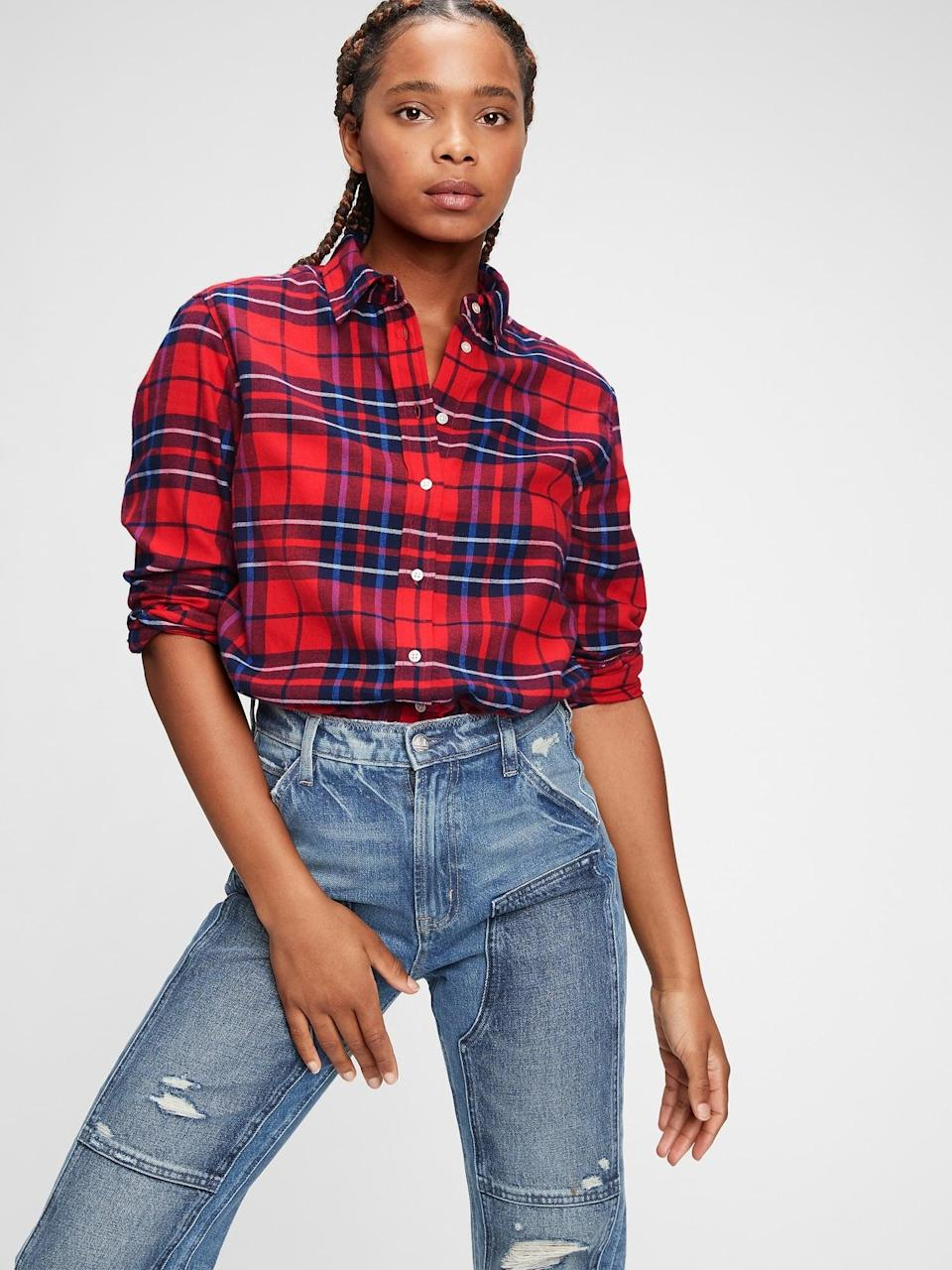 <p>This <span>Gap Red Tartan Everyday Flannel Shirt</span> ($40) is a classic for the holidays and beyond. We love this button-down with distressed blue jeans.</p>