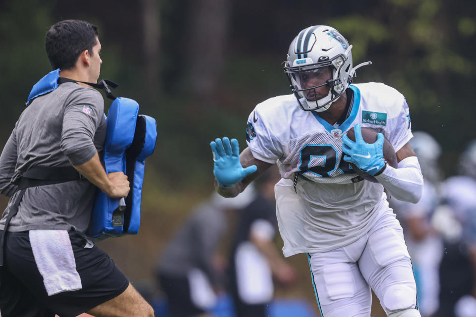 Carolina Panthers wide receiver Terrace Marshall Jr. runs after a catch during practice at the NFL football team's training camp in Spartanburg, S.C., Tuesday, Aug. 3, 2021. (AP Photo/Nell Redmond)