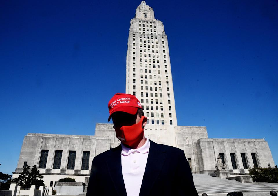 A lone protester showed up at the Louisiana State Capital on Sunday, Jan. 17, 2021.