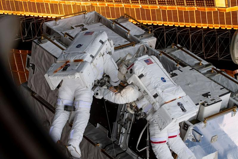 NASA astronauts Anne McClain (R) and Nick Hague are seen during a spacewalk at the International Space Station in this social media photo on March 22, 2019. Picture taken on March 22, 2019. Courtesy NASA/Handout via REUTERS ATTENTION EDITORS - THIS IMAGE HAS BEEN SUPPLIED BY A THIRD PARTY.?