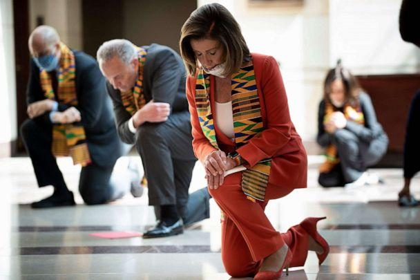 PHOTO: Speaker of the House Nancy Pelosi and other Democratic lawmakers take a knee to observe a moment of silence on Capitol Hill, June 8, 2020, in Washington, D.C. (Brendan Smialowski/AFP via Getty Images)