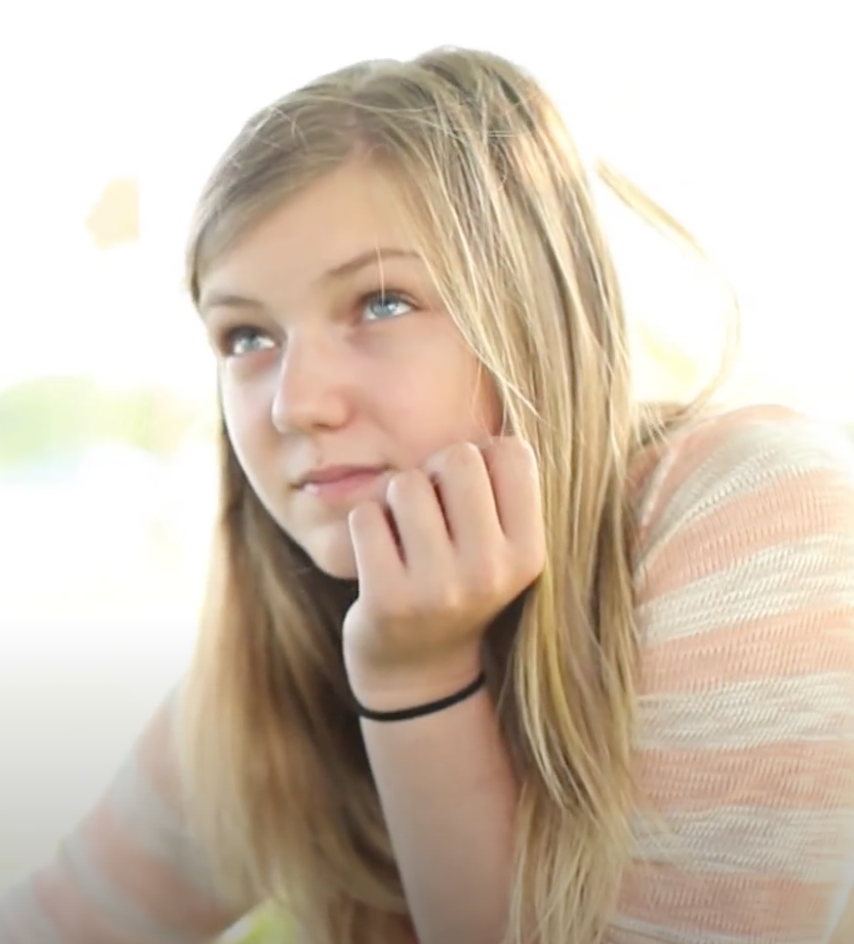Gabby Petito, aged 14, in a music video for a tribute song to the victims of the Sandy Hook shooting (Deb Henson)