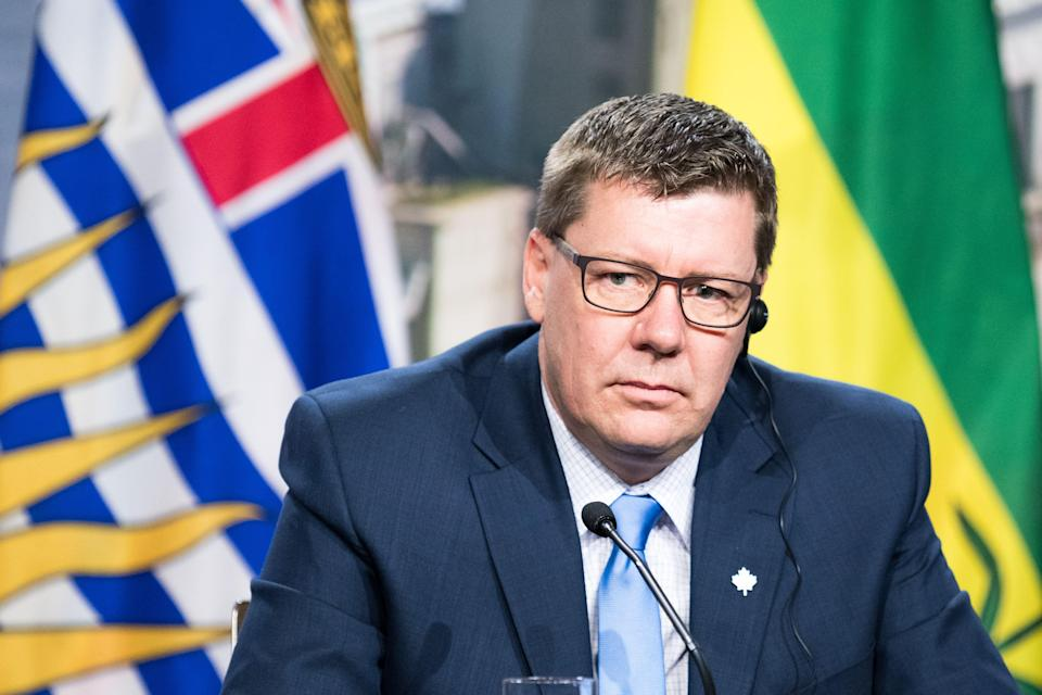 Saskatchewan's premier Scott Moe looks on as prime ministers of the Canadian provinces gather during a meeting set-up by Canada prime minister Justin Trudeau in Montreal, on December 7, 2018 at the Marriott Chateau Champlain. (Photo by MARTIN OUELLET-DIOTTE / AFP) (Photo credit should read MARTIN OUELLET-DIOTTE/AFP via Getty Images)