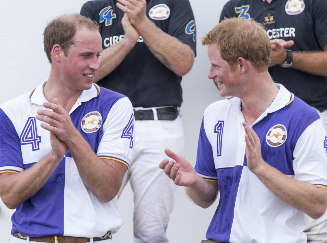 CIRENCESTER, ENGLAND - JULY 14: Prince William, Duke of Cambridge and Prince Harry attend the presentations after taking part in The Jerudong Trophy at Cirencester Park Polo Club on July 14, 2013 in Cirencester, England. (Photo by Mark Cuthbert/UK Press via Getty Images)