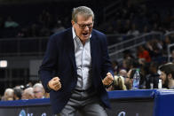 Connecticut head coach Geno Auriemma reacts during the second half of an NCAA college basketball game against DePaul on Monday, Dec. 16, 2019 in Chicago, Ill. (AP Photo/Matt Marton)