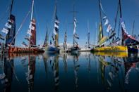 The Imoca 60 of the skippers at the starting site of the Vendee Globe which sets sail from Les Sables-d'Olonne on Sunday