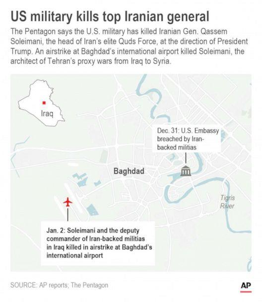 PHOTO: Map shows location of airstrikes on U.S. embassy and airport in Baghdad. (J.magno/AP)