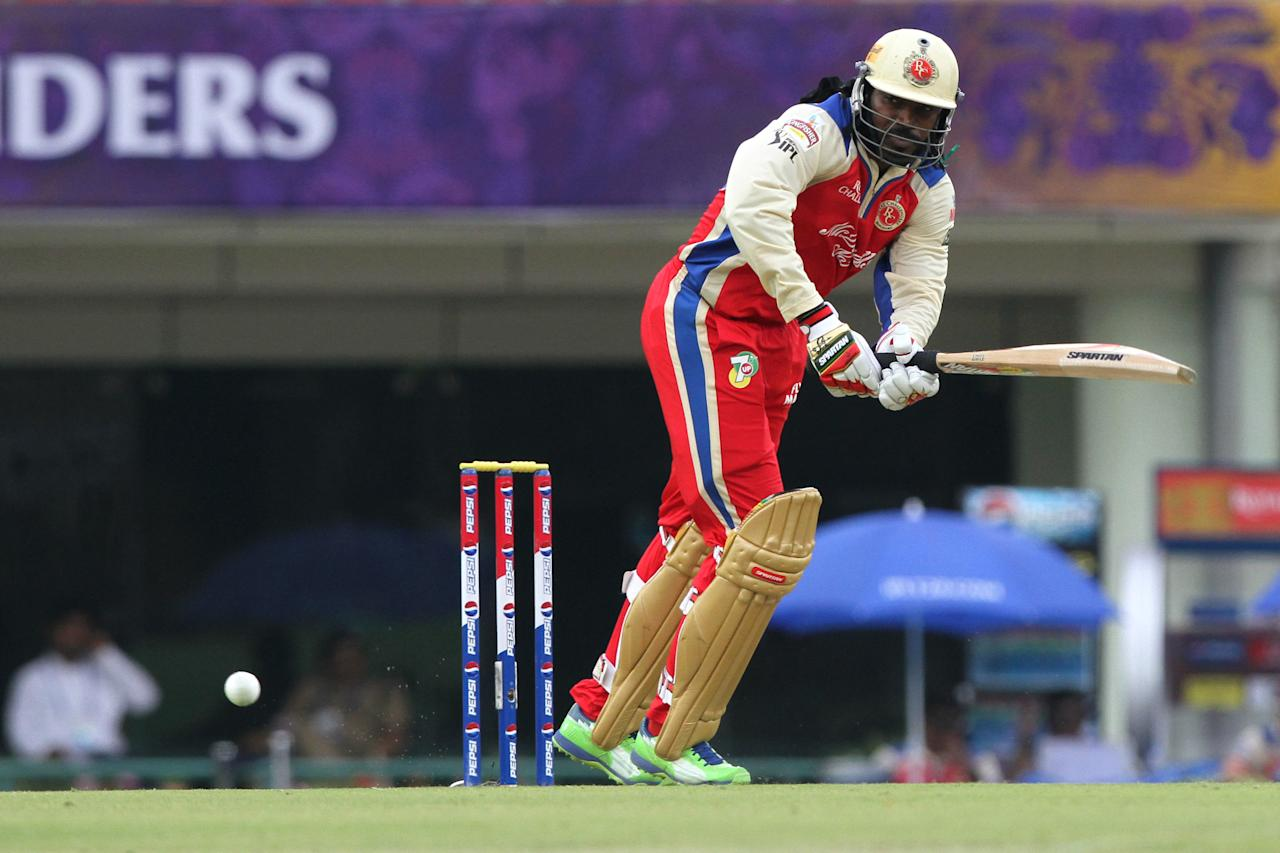 Royal Challengers Bangalore player Chris Gayle during match 60 of the Pepsi Indian Premier League between The Kolkata Knight Riders and the Royal Challengers Bangalore held at the JSCA International Stadium Complex, Ranchi, India on the 12th May 2013..Photo by Deepak Malik-IPL-SPORTZPICS    ..Use of this image is subject to the terms and conditions as outlined by the BCCI. These terms can be found by following this link:..https://ec.yimg.com/ec?url=http%3a%2f%2fwww.sportzpics.co.za%2fimage%2fI0000SoRagM2cIEc&t=1493277694&sig=Xp_s7wV0QxlI3.VNz3jg4g--~C