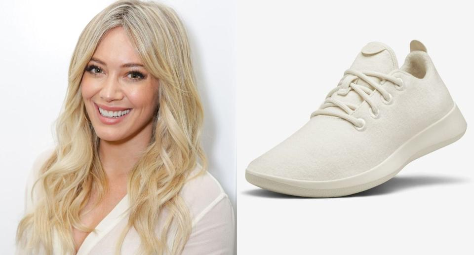 Hilary Duff wore a pair of Allbirds Wool Runners to hit the gym in Los Angeles. (Images via Getty Images/Allbirds)