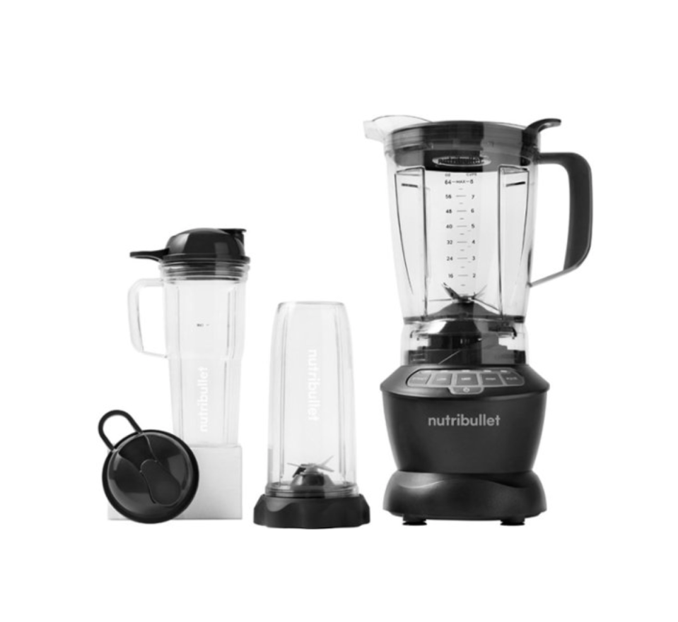"""<p><strong>NutriBullet</strong></p><p><strong>$139.99</strong></p><p><a href=""""https://www.amazon.com/NutriBullet-ZNBF30500Z-Blender-Combo-1200W/dp/B07VNN6SMD/?tag=syn-yahoo-20&ascsubtag=%5Bartid%7C10055.g.4864%5Bsrc%7Cyahoo-us"""" rel=""""nofollow noopener"""" target=""""_blank"""" data-ylk=""""slk:Shop Now"""" class=""""link rapid-noclick-resp"""">Shop Now</a></p><p>This well-priced and high-powered blender comes with three jars: a 64-ounce pitcher for large batches, and two different personal-sized cups (32 ounces and 24 ounces with a handle.) <strong>Both cups have lids that make it easy to take your smoothie to-go</strong>. It features an """"extract"""" button that blends smoothies in preprogrammed variable speeds. We blended kale smoothies in all three jars – there were no flecks to be tasted! It also blasted through frozen strawberries effortlessly to make a delicious, evenly processed daiquiri. The base is not much larger than previous NutriBullet bases and it has suction cups on the bottom that reliably prevent it from shifting around. Just remember to unscrew the personal blending cups from the base instead of the cups--it's easy to accidentally make a mess. </p>"""
