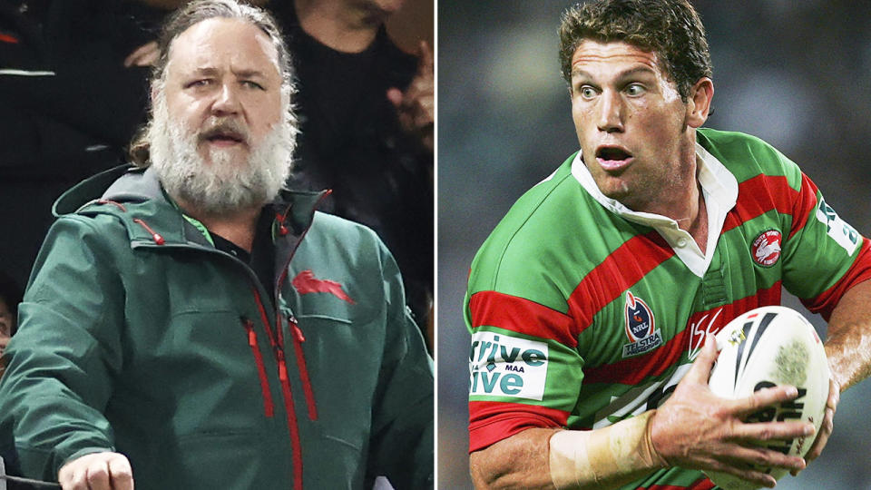Bryan Fletcher and Russell Crowe, pictured here at South Sydney games.